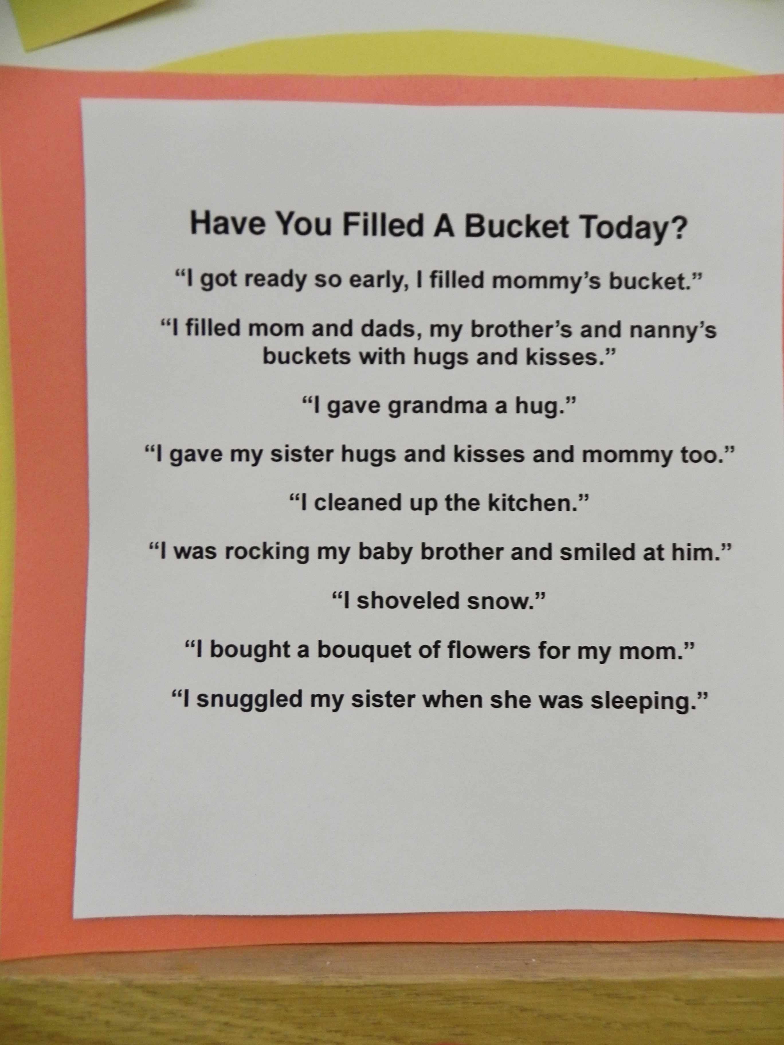 """This year we focussed on """"bucket filling"""", being kind to family and friends to """"fill their buckets"""". It was a great success!"""